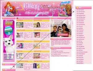 Capture d'écran site jeuxfilles.fr et agrandissement de la colonne de jeux, réalisés le 12 juillet 2012